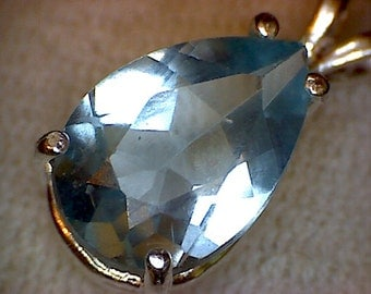 Beautiful Pear London Blue Topaz Pendant