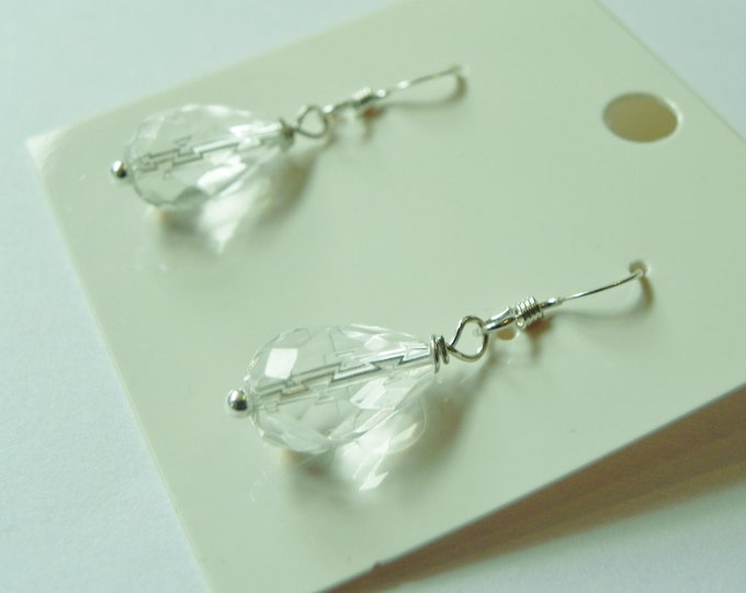 White quartz faceted drop sterling silver earrings