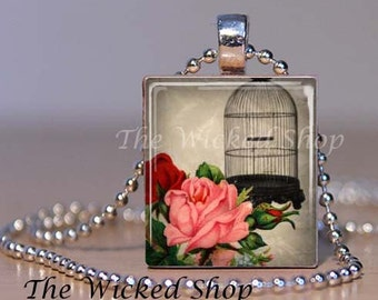 Scrabble Tile Pendant - Vintage  Look  Bird Cage with Red Flowers - Photo Pendant-  Silver Plated Ball Chain Included (BIRDCAGE1)