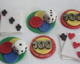 12 fondant cupcake toppers--poker night, casino night, las vegas