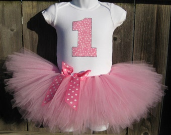 Pink Birthday Tutu Outfit and Matching Headband | Taffy Pink Polka Dot Number or Initial |Birthday Photo Prop, Party Dress