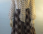 1960s or 70s Vintage / Polka Dots and Plaid / Swing Dress / Now Is the Time / Puritan