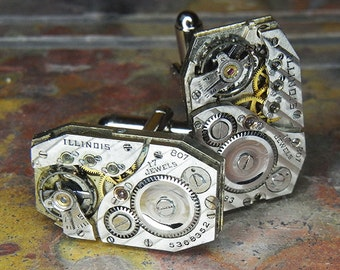 STEAMPUNK Cufflinks Cuff Links - Torch SOLDERED - Antique Silver ILLINOIS Rectangular Watch Movements w/ Pin Stripe - Wedding, Anniversary