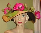 SALE Designer OOAK Black Tan Fuschia Poppy  Hat Vtg Millinery Flowers DERBY, Dress, Garden Party, Church, Fashion Showstopper