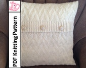 Knit pillow cover pattern, PDF KNITTING PATTERN, knitted cushion pattern