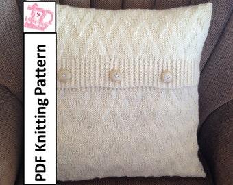 Knit pillow cover pattern, PDF KNITTING PATTERN, knitted cushion pattern