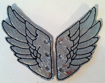 Metallic Silver Faux Leather with Black Stitching Percy Jackson Inspired Shoe Wings