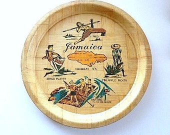Vintage Souvenir Plate - Bamboo Plate - Jamaica Souvenir Plate - Tiki Bar