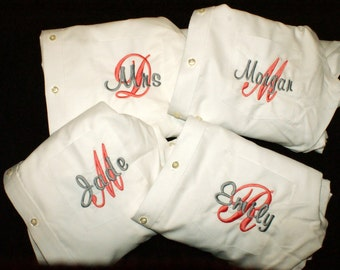 Bride and Bridesmaid Gift Button up Shirts with Overlay Monogrammed Set of 4