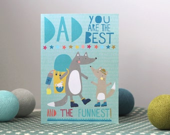 Fathers Day Card with Little Wolf Characters