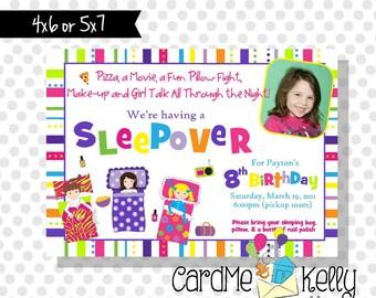 Printable Sleepover Slumber Party Photo Birthday Party Invitation - Printable Digital File