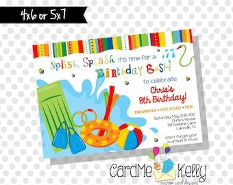 DIY Printable Birthday Pool Party Pool Toys Birthday Invitation - Printable Digital File
