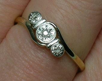 Art Deco English Engagement Ring, 18Ct & Platinum, Table Cut Diamonds. Size 6