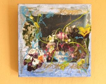 Collage floral blue green stamp ooak