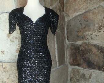 80s SEQUIN PARTY DRESS vintage open back bodycon stretch lace M