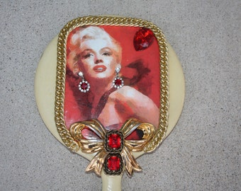 MARILYN MONROE Vintage Rhinestone Embellished Vanity Hand Mirror