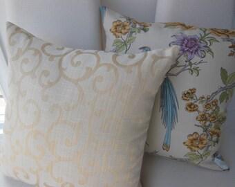Designer Pillow - Damask Scroll Vanilla Creme Decorative Pillow - 18 x 18 Inch Reversible Pillow - Vanilla Creme Golden Pillow