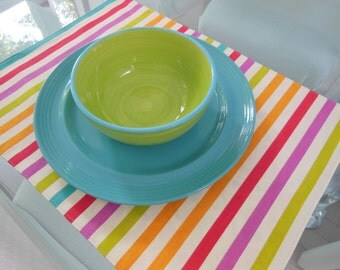 Striped Placemats -  Customize Your Own Pillowscape Reversible Placemats - You Select The Fabrics To Coordinate With Your Home Decor