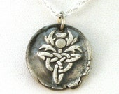 Scottish Thistle Wax Seal Necklace, Celtic Knot Wax Seal Necklace