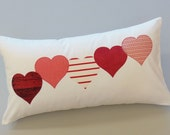 "Valentines Day Red Hearts Decorative Throw Pillows 12"" x 22"" - JacqueAnnDecor"