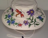 Blue and Purple Flowers Canvas Outback Hat for Women and Men