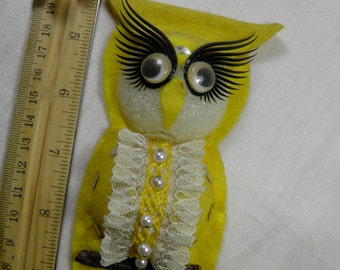 Owl Magnet - Yellow - Vintage Homemade - Yellow, Black, White with Fancy Eye Lashes