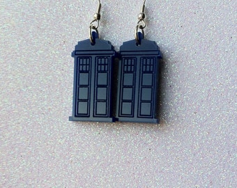 Dr Who Tardis inspired laser cut acrylic earrings