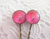 Hot Pink Cherry Blossom Flower Bobby Pins