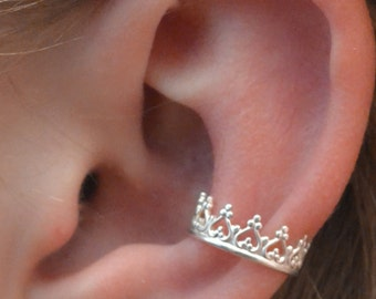 Ear Cuff  - Princess  Crown - Sterling Silver - SINGLE