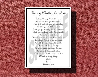 Wedding Day Mother-in-Law Poem DIY Printable