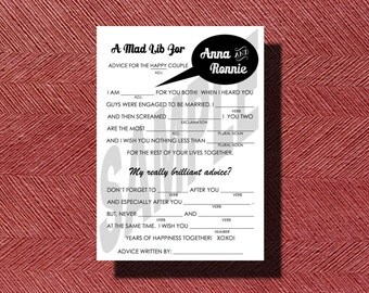 Fun Wedding Mad Libs A Unique Guest Book Alternative Wedding Ad Libs