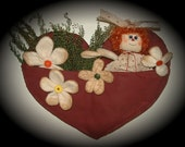Valentine's Day Heart Raggedy Ann Wall Hanging Primitive