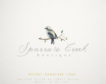 DIY INSTANT DOWNLOAD - Watercolor Bird Premade Logo Design for Photography or Boutique by Summit Avenue