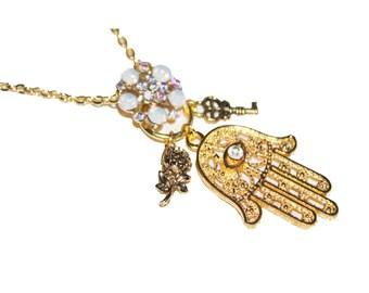 Hamsa necklace, Charm necklace, evil eye jewelry, gold necklace, hamsa charm necklace, gold hamsa
