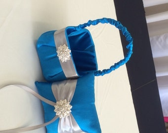 Cobalt Blue  with Silver Flower girl basket and pillow Ready for Immediate Shipping