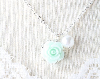 Mint rose and white pearl flower girl necklace - flower girl jewelry - Mint girl necklace - mint wedding jewelry - MInt flower girl jewelry