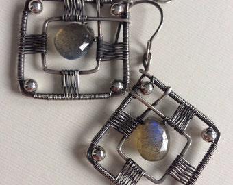 Labradorite diamond shaped earrings with silver woven frame - wire wrapped earrings