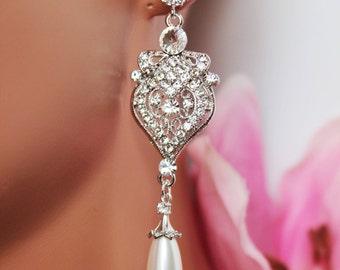 Crystal Chandelier Bridal Earrings, Art Deco Wedding Earrings, Vintage Style Bridesmaid Earrings, Crystal Drop Pearl Wedding Earrings