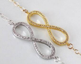 CZ Infinity Bracelet, Crystal Infinity Bracelet, Simple Everyday Jewelry, Bridal Bracelet, Wedding Bracelet, Bridesmaids Bracelet