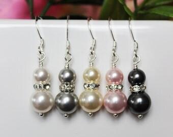 Drop Pearl Bridal Earrings, Bridal Jewelry, Bridesmaid Earrings, Wedding Jewelry, Bridesmaids Jewelry