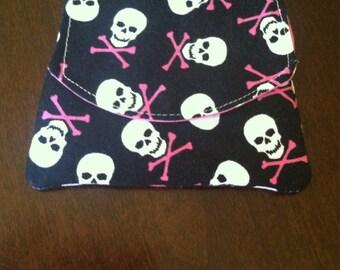 Mini Wallet-Credit Card Holder- Black and Pink Skulls