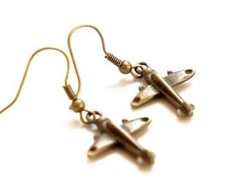 Antiqued Brass Tiny Toy Plane Dangle Earrings - Gift Idea - Toy Plane Earrings - C0005