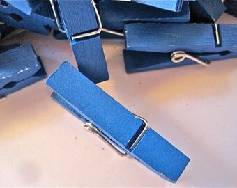 Blue Wooden Clothespins Pegs Lot of 10