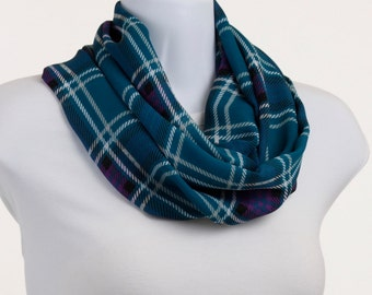 Long Infinity Scarf - Blue and Purple Plaid SHEER ~ SH219-L5
