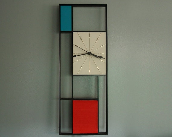 Mid Century Mondrian Wall Clock Sunbeam Vintage 1950s By