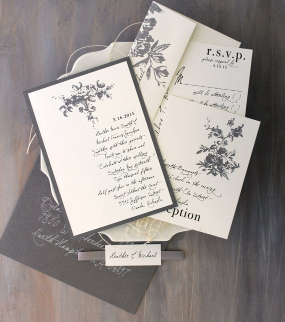 "Wedding Invitations, Classic and Elegant Wedding Invitations, Gray Wedding, Elegant Ivory Wedding Invitations - ""All White"" Sample"