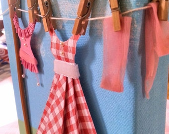 Paper Art, Party Dress And Lingerie Hanging From Clothes Line, Girls Room, Bathroom Wall Decor