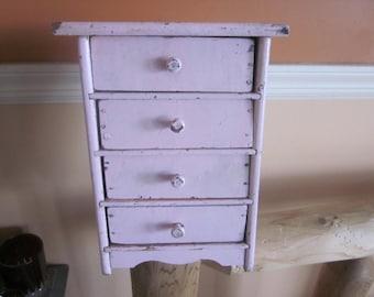 doll dresser. antique pink doll dresser, adorable, wood doll furniture, antique doll furniture
