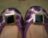 Black Enamel Onyx Look Square Shoe Clips