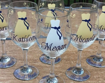 Set of 6-Bridesmaid Wine Glasses-Gift Idea-Choose Your Colors-Includes Name, Title and Date